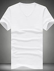 T-shirt Uomo Casual Tinta unita Cotone / Poliestere Manica corta-Nero / Blu / Verde / Rosso / Bianco / Giallo / Grigio
