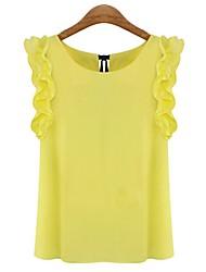 billige -Ensfarvet Drapering Sødt Bluse