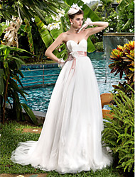 cheap -A-Line Sweetheart Sweep / Brush Train Lace Tulle Wedding Dress with Beading Sash / Ribbon Bow Flower by LAN TING BRIDE®