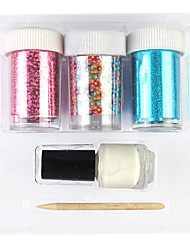 cheap -3PCS Laser Foil Nail Decorations Starry Stickers with Glue Stick(Random Color Stickers)