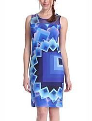 Žene Rad Ležerne prilike Korice Mini Haljina Geometrijski oblici Bez rukávů Okrugli izrez