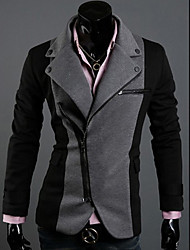 cheap -LangTuo Irregular Zipper Design Assorted Color Rome Cloth Slim Blazer(Dark Gray)