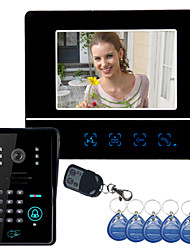"economico -7 ""Video telefono del portello campanello Intercom Sistema Touch Panel Lock Door Keyfobs RFID"