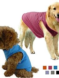 economico -Cane T-shirt Abbigliamento per cani Tinta unita Grigio Viola Rose Verde Blu Cotone Terylene Costume Per animali domestici