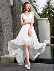 cheap -A-Line V-neck Asymmetrical Georgette Wedding Dress with Ruche Side-Draped by LAN TING BRIDE®