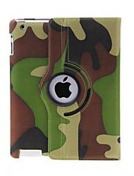 Kinston 360 graders roterbar Camouflage Mønster PU Læder Full Body Taske med holder til iPad 2/3/4