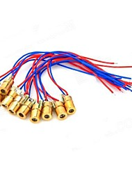 cheap -5mW 650nm Copper Semiconductor Laser Dot Diode Head Set - Red + Blue + Golden (10 PCS)