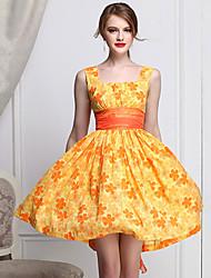 baratos -Mulheres de impressão bonito Daisy Vestido Retro