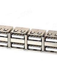 cheap -Dual USB Female Adapters - Silver (4 PCS)
