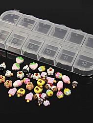 36pcs 12 conception aléatoire mignon de bonbons&résine acrylique de glace mis nail art décoration