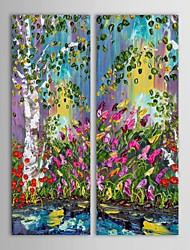Hand-Painted Landscape Vertical Panoramic Two Panels Canvas Oil Painting For Home Decoration