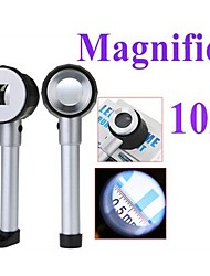 cheap -25mm Handheld 10X Magnifier with 3-LED White Light and Graduation (2 x AA)