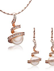 cheap -Women's Party Casual Fashion Jewelry Set Crystal Rose Gold Gemstone & Crystal Pearl 18K gold Alloy Jewelry Set , Special Occasion