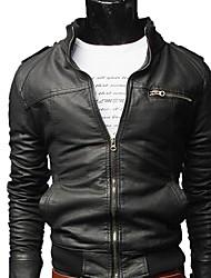 economico -LangTuo Breve Snello stand Collare causale Lavatrice Locomotive cappotto in pelle (nera)