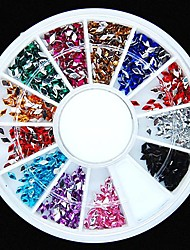 cheap -600PCS 12Colours Diamond Shape Acrylic Rhinestones Wheel Nail Art Decoration