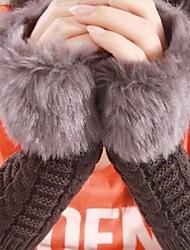 お買い得  -女性用 ヴィンテージ フェイクファー, パッチワーク フィンガーレス 手袋