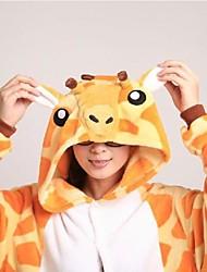 Недорогие -Пижамы кигуруми Жираф Комбинезон-пижама Пижамы Костюм Коралловый флис Оранжевый Косплей Для Взрослые Нижнее и ночное белье животных