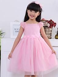Menina de Vestido Cor Única Algodão Verão Rosa