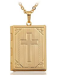Недорогие -Женский Крест Мода Ожерелья с подвесками Медальоны Ожерелья Медь Позолота 18K золото Ожерелья с подвесками Медальоны Ожерелья , Свадьба
