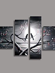 Hand-Painted Floral/Botanical Any Shape,Modern European Style Four Panels Oil Painting For Home Decoration