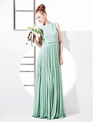 Tubinho Bateau Neck Longo Georgette Vestido de Madrinha com Laço(s) Faixa / Fita de LAN TING BRIDE®