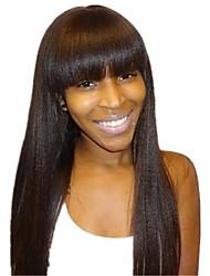 Mulher Perucas de Cabelo Natural Densidade Liso Peruca Marrom Escuro Para Mulheres Negras 100% Feita a Mão Riscas Naturais