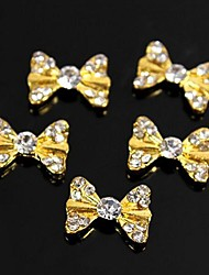 cheap -10pcs Bling Charm Golden Bow Tie 3D Alloy Rhinestones Nail Art Decoration
