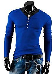 Tee-Shirt Pour des hommes Couleur plaine Décontracté Manches longues Coton Noir / Bleu / Beige / Gris