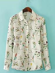 Camicia Da donna Casual Semplice Primavera Estate Autunno,Con stampe Colletto Manica lunga Sottile