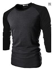 T-shirt Uomo Casual Monocolore Cotone Manica lunga-Nero / Bianco / Grigio