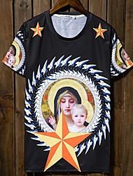 T-shirt Uomo Casual Con stampe A maglia Manica corta-Nero
