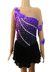 Ice Skating Dress Women's Long Sleeves Skating Skirt Figure Skating Dress Breathable Softness Stretch Handmade Low-friction Spandex