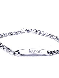 cheap -Personalized Gift Stainless Steel  Jewelry Engraved ID Bracelets 0.7cm Width