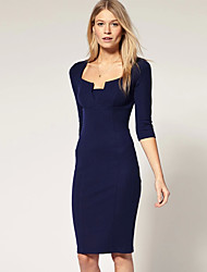 economico -abigail modo di colore solido vestito vita aderente