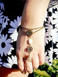 shixin® pulseira do vintage charme bronze cordão branco (1 pc)
