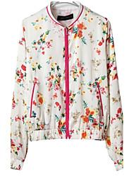 Недорогие -LD женщин новые стенд воротник красный цветок печати пилот куртка