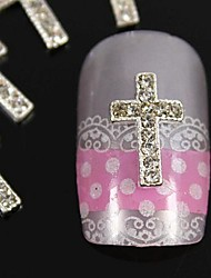10pcs   DIY Silver Rhinestone Crossing Finger Tips Accessories Nail Art Decoration