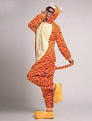 baratos -Adulto Pijamas Kigurumi com Pantufas Tiger Pijamas Macacão Ocasiões Especiais Velocino de Coral Laranja Cosplay Para Pijamas Animais desenho animado Dia das Bruxas Festival / Celebração / Natal