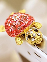 bouchon anti-poussière en alliage de zircon en forme de tortue (rose) diy pour iphone 8 7 samsung galaxy s8 s7
