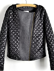 Women's Crossbar PU Leather Zip-up Woolen Jacket