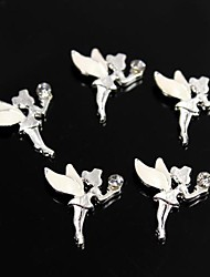 cheap -10pcs White Alloy Rhinestone Fairy Angel 3D Alloy Nail Art Decoration