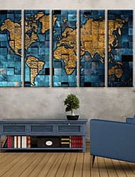 Stretched Canvas Art Metal Map Set of 5