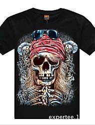 abordables -cráneo patrón de cuello redondo de algodón de la camiseta de los hombres romanos