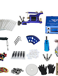 cheap -1 Gun Complete No Ink Tattoo Kit with Blue Motor Machine and Lcd Screen Blue Power Supply