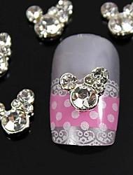 10pcs rhinestone mignon souris 3d diy alliage accessoires décoration d'ongle art