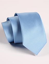 cheap -Men's Polyester Neck Tie,Party Work Casual Solid All Seasons Light Blue