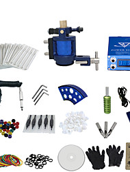 cheap -1 Gun Complete No Ink Tattoo Kit with Aluminium Motor Tatoo Machine and Lcd Screen Blue Power Supply