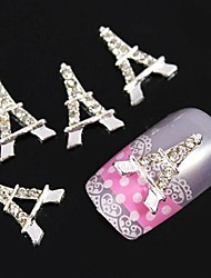 10pcs eiffel Silver Tower accessori strass diy nail art decorazione