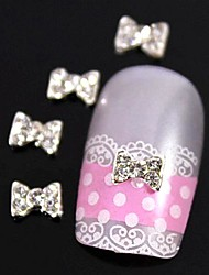 10pcs brilho strass gravata borboleta acessórios de liga leve da arte do prego decoração