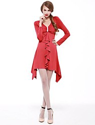 JOANNE KITTEN Women's Party/Cocktail Sexy / Vintage Dress,Solid Above Knee Long Sleeve Blue / Red Polyester Spring / Fall / Winter
